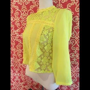 NWT Crop Neon Yellow Lemon Lime Blouse